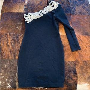 Vintage Jessica McClintock Pearl Detail Mini Dress